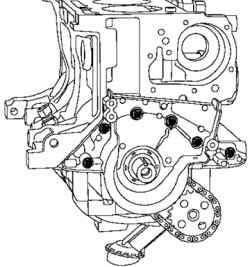 Снятие передней крышки блока двигателя