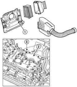 Расположение элементов системы вентиляции картера (двигателя K4J)