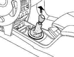 Снятие чехла рычага переключения передач и рукоятки рычага