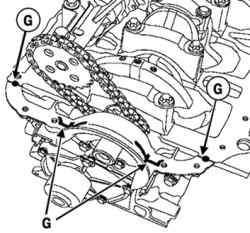 Места нанесения силиконового герметика на сопряжение передней крышки