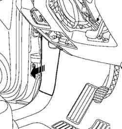 Отсоединение облицовки передней левой стойки кузова