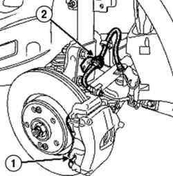 Снятие пружины и тормозного шланга