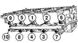 Порядок затягивания болтов крепления подкладки корпусов форсунок