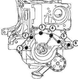 Порядок затягивания болтов передней крышки двигателя