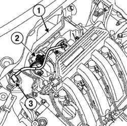Отсоединение колодки проводов от блока дроссельной заслонки и шланга системы улавливания паров топлива от электромагнитного клапана продувки адсорбера