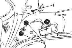Крепление заднего двигателя стеклоочистителя