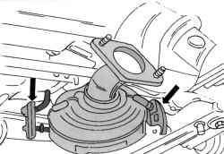 Крепление каталитического нейтрализатора резиновыми подвесками в 16-клапанном двигателе
