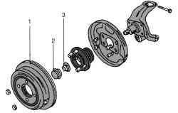 Детали ступицы заднего колеса (автомобили с барабанными тормозными механизмами)
