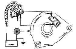 Проверка падения напряжения в «минусовой» части цепи зарядного тока