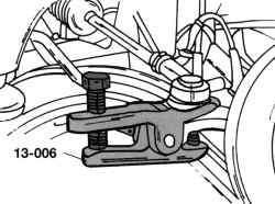 Отжатие рычага поперечной рулевой тяги съемником пальцев с шаровой головкой
