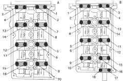 Последовательность отворачивания винтов для снятия крышек подшипников распределительного вала на левой головке блока цилиндров (А) и правой головке блока цилиндров (В)