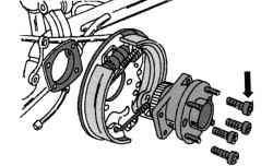 Крепление ступицы колеса на балке задней подвески
