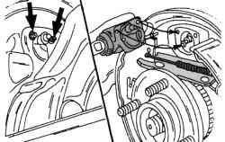 Крепление тормозного цилиндра барабанного тормозного механизма