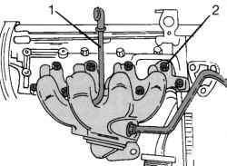 Крепление выпускного коллектора на одной стороне двигателя