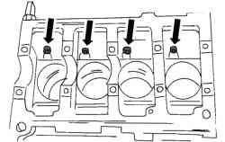 Положение масляных форсунок в блоке цилиндров