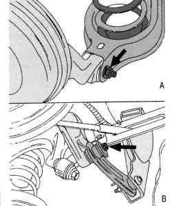 Крепление поперечного рычага (А) и бокового рычага (В) к ступице