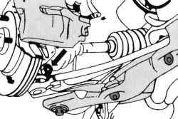 Местонахождение крепления поперечного рычага подвески к поворотному кулаку