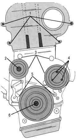 Снятие деталей на лицевой стороне двигателя