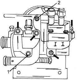 Крепление корпуса (1) термостата и катушки зажигания с держателем (2)