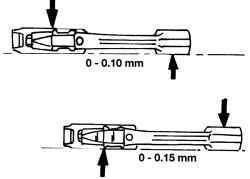 Проверка шатунов на деформацию верхней шатунной головки (А) и нижней шатунной головки (В)