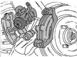 Отсоединение суппорта тормозного механизма от его опоры