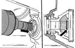 Установка левого вала привода. Расположение предохранительного кольца