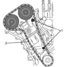 Схема прокладки правой цепи привода распределительного вала