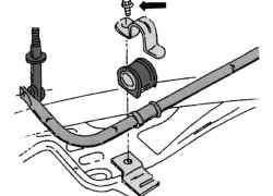 Крепление штанги стабилизатора к поперечине рамы