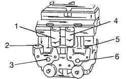 Места подсоединения тормозных трубок к гидравлическому блоку