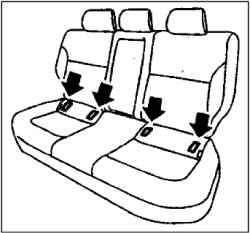 Установка удерживающего приспособления для детей (детского сиденья) с прикреплением его к нижним анкерным креплениям задних сидений (детские сиденья с системой крепления ISOFIX)