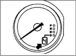 Положения рычага селектора автоматической коробки передач (основная прорезь)