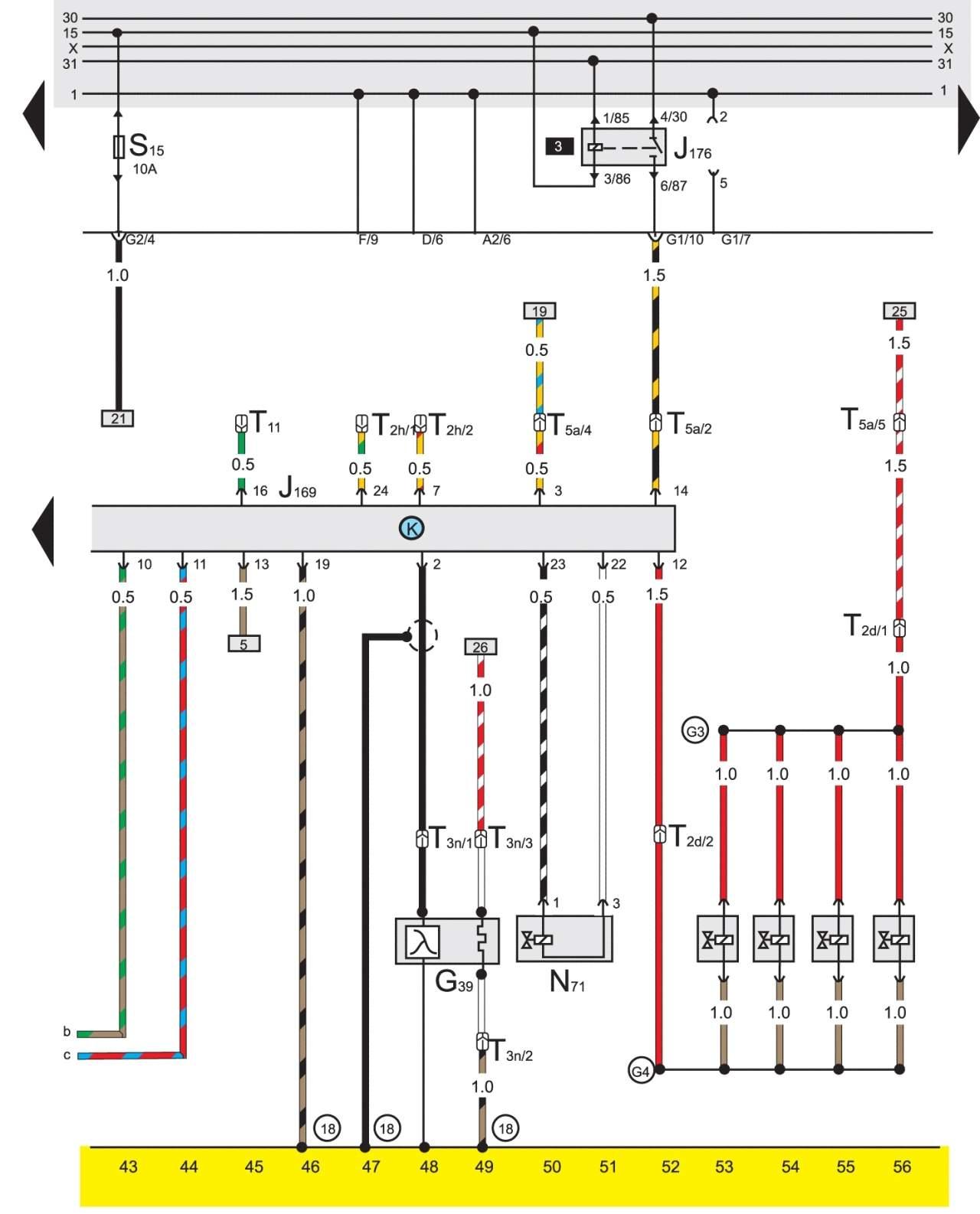 Схема проводке в гольфе 2