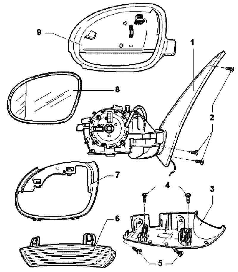 Схема бокового зеркала на тойота