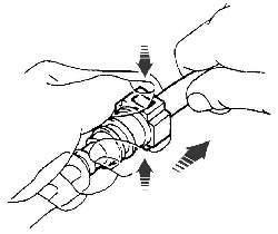 Нажатие фиксаторов и извлечение трубки из быстросъемного соединителя