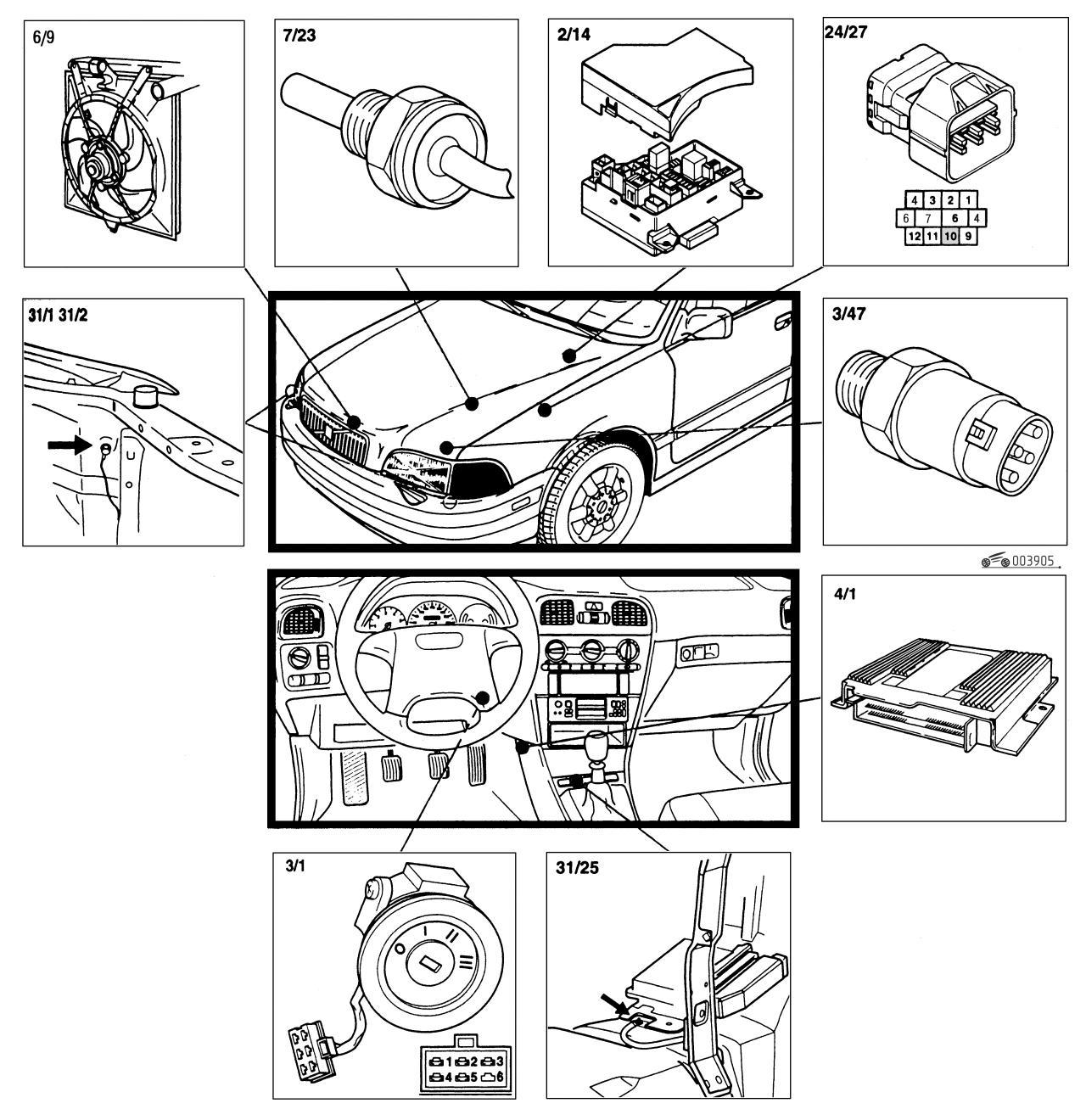 Схема электрическая управления вентилятором 634