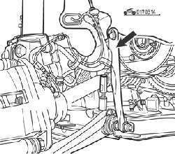 Стяжка для поддержки двигателя (стрелка)