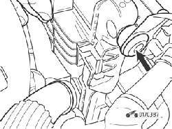 Верхняя резиновая опора радиатора (стрелка)