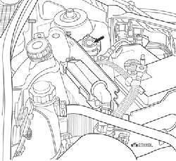 Инерционный выключатель подачи топлива при столкновении автомобиля (стрелка)