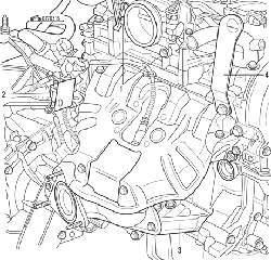 Болты (1) крепления корпуса дроссельной заслонки, разъем (2) датчика концентрации кислорода в отработавших газах, подкос (3) крепления двигателя и подъемная проушина (4)