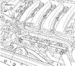 Отсоединение трубопроводов от топливораспределительной рампы